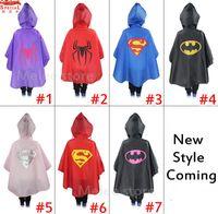 Unisex baby rain poncho - INS Kids Superhero Raincoat Superman Batman Rain Coat Baby Spiderman The Avenger Raincoat Waterproof RainCoat Super Hero Poncho Inch