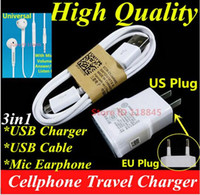 Wholesale 10pcs A US EU Plug Wall Charger Micro USB Cable Mic earphone For Samsung Galaxy S7 edge A3 A5 J5 J7 S6 Charger Set