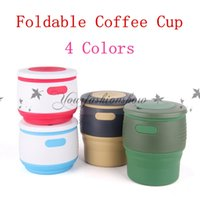 Wholesale Fashion Colors Collapsible Foldable Coffee Cup Silicone Tea Mug Camping Portable Handy Travel Fruit Juice Drink Cups ml M550