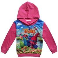 Wholesale 2017 kids girls hoodies trolls sweatshirt hoodies kids hoodies girls clothes long sleeves tshirt children down coats T girls