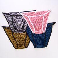 Wholesale Mens String Bikini Fashional Panties Front Pouch Stripes Poly Cotton spandex G242C Soft Comfort mens underwear