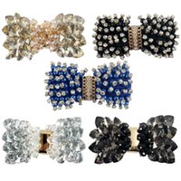 Wholesale Hot Selling Style inch Patternred Grsograin Ribbon Boutique Crystal Hair Bows for Girls Shining Rhinestone Hair Accessories