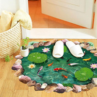 Wholesale 3d lotus fish water pool through the floor stickers room decor home decals pvc pastoral mural wall art pastoral poster