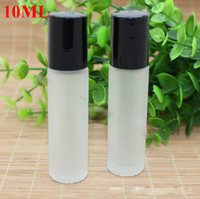 ball plastic lids - 10ml Glass Roll on Bottles ml Empty Aromatherapy Essential Oils Scrub Bottles Slim with Glass Metal Ball and Black SS Silver Plastic Lid