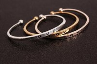Wholesale High Quality Love letters bracelets Silver Gold Rose gold colors Open Bangle Fashion brand Environmentally friendly