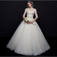 Wholesale 2017 White A Line V Neck Wedding Dresses Lace Half Sleeve Sexy Backless Floor Length Sweep Train Bridal Train