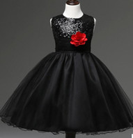 Wholesale 2017 sequin dress big girls in child Princess skirt flower mesh flower girl Tutu