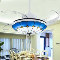 Wholesale Direct manufacturers LED crystal chandelier fan stealth telescopic dining room ceiling fan lamp lamp with the fan