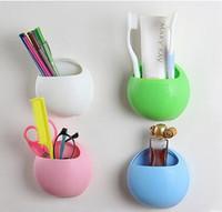 Wholesale Double suction cup toothbrush holder Multi functional strong suction toothbrush holder bathroom bathroom shelf debris storage box