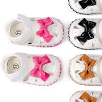Wholesale Delebao Summer New Style Butterfly knot Newborn Baby Girl Sandals Hoop Loop Soft Sole Baby Girl Shoes