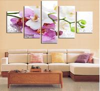 al por mayor pintura al óleo flor de la orquídea-5 Panel (Marco) Hermosa orquídea rosa pintura al óleo sobre lienzo flores Wall Art Picture Inicio Decoración Imprimir pinturas modernas