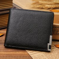 Wholesale Guangzhou leather factory JINBAOLAI steel Angle head layer cowhide Men s ultra thin grain leather wallet