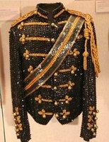 al por mayor ropa mj-Venta al por mayor-paillette hombres cantantes bailarín MJ Michael Jackson Sequins traje de chaqueta de la etapa de ropa 4XL 5XL tribunal ropa trajes XS-5XL