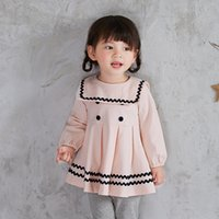 baby princess tees - Baby Girls Dresses Spring Kids Princess Dresses Preppy Style Dress Tee Tops Solid Color Ball Gown A Line Short Skirt Children Clothing