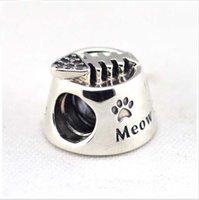 Se adapta a los granos de plata del cuenco del gato de las pulseras de Pandora con el Zirconia cúbico Nueva venta al por mayor de la joyería de los encantos DIY de la plata esterlina del 100% 925
