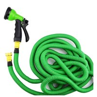 Plastic DIN Water Hose Garden water hose Expandable Flexible Metal Head Hose with Spray nozzle gun irrigation watering flowers wash car Pipe 25 50 75 100FT new