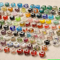 Wholesale 925 Sterling Silver Charm Glass Beads Pendants Murano Hole Beads for Pandora Necklace Bracelet Jewelry DIY Accessories with Stamp DHL Free