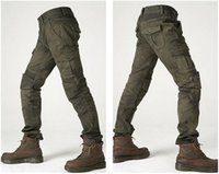 Wholesale motorcycle pants motorpool jeans army green casual pants with pieces of protetion gears racing pants