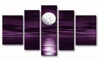 More Panel Oil Painting Fashion 100% Hand Painted Oil Painting on Canvas Purple Skyline Sea White Full Moon Night Wood Framed Landscape Wall Art Painting Abstract Home Deco