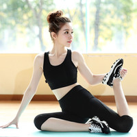 Wholesale elastic sports pants suits slim fitness woman jogging wicking bra short set female yoga clothes