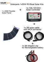 basic home phone - Solarparts Basic Kits V x50W DIY RV Marine Solar System Kits W flexible solar panel controller cable outdoor light led light