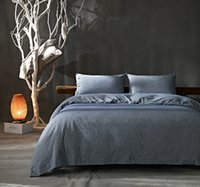 Wholesale 2017 Cotton Linen Wrinkle Count Egyptian Quality Duvet Cover Set Solid King queen full three Colours King Gray
