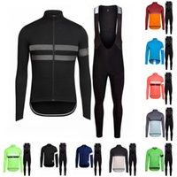 Wholesale Cycling Pants Jersey Set - 2016 Black Winter Cycling Jerseys Set Long Sleeve Tops Black Bib Pants MTB Bike Clothes Ropa Ciclismo Winter Fleece Brand New