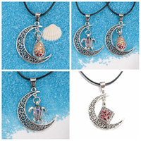 perfume set - Fashion Jewelry Vintage Zinc Alloy Hollow Moon Lunar Pendent with perfume foam Silver Plated Pendent Necklace Leather rope necklace set