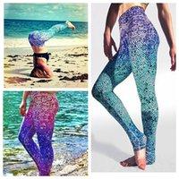 Cheap Women Yoga Leggings Fish Scale Sport Gym Fitness Gradient Mermaid Scales Pants Gradient Color Sports Running Sexy pants KKA1044