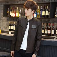 Wholesale Casual PU Slim Jacket Mew Style Mens Leather Jacket Black Leather Motorcycle Jacket for Men