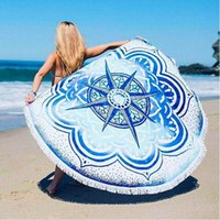 Wholesale Polyester Indian Mandala Round Roundie Beach Throw Tapestry with Tassels Hippy Boho Gypsy Polyester Tablecloth Beach Towel Mat