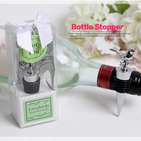 Wine Stoppers Metal Stocked DHL Free Shipping 50pcs lot Love Bird Zinc Alloy Wine Bottle Stopper Wedding bridal Shower Party Favor Guest Gift for Men