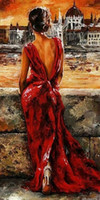 art high heels - Framed LADY IN RED and high heel Pure Handpainted Abstract Portrait Art Oil Painting On canvas any customized size