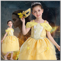 Summer Knee-Length polyester girl kid princess belle dress Beauty and the Beast Halloween Costumes child Girl birthday gift Costume Dress Cosplay