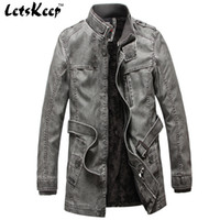Wholesale Letskeep New Mens Winter PU Leather Moto jacket Thicken long trench coat Jackets Outerwear Men Collar Overcoat M XL MA205