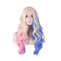 Wholesale hair Anime wigs Suicide Squad Harleen Quinzel Harley Quinn Costume Cosplay Wig curly heat resistant wig synthetic wigs Free Cap inch