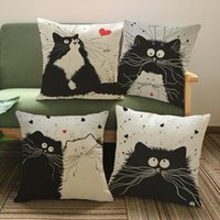 Wholesale Cartoon images Linen Cotton Blend Cushion Cover Home Office Sofa Square Cat Pillow Case Decorative Cushion Covers Pillowcases TOP1546Z