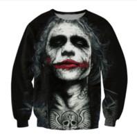 al por mayor mujer sudadera batman-Inked Joker Sweatshirt Badass Tattooed Joker Dark Knight Sudaderas Mujeres Hombres Batman DC Comics Superhéroe Jumper Outfits Tops