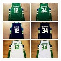 Wholesale Mens NEW Giannis Antetokounmpo Jersey Jabari Parker White Green Black Cheap Jerseys Embroidery Logo Top Quality