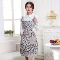 Wholesale Fashion Plain Apron Lady s Retro Style Flower Pattern With Pocket Cotton Kitchen Cooking Lattice Apron Home Cleaning Tool Accessories