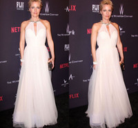 anderson prom - Gillian Anderson Beaded Halter Sheer Ivory Tulle Prom Party Gowns Golden Globes Red Carpet Celebrity Dresses Floor Length A Line Cheap