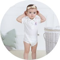 Wholesale Chirldren s garments summer comfortable cotton short sleeve polo turn down collar newborm baby triangle Hip covered romper