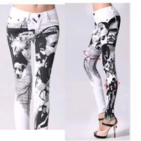 Wholesale hot sale Fashion Printing jeans woman Casual Pencil pants Girl Washed Person Pattern Skinny Long women Jeans Capris