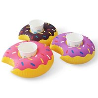 Wholesale newest Inflatable Donut Coasters PVC Cup holder Water coke cup holder Beverage Boats Big Mouth Swimming holder DHL free