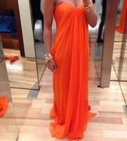 achat en gros de magasin de photo en ligne-Haute qualité 2016 populaires en ligne magasin sexy orange A-ligne sweetheart plissé en mousseline de soie longue train Charme robes de soirée