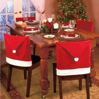 Wholesale Santa Claus Red Hat Chair Cap Sets Christmas gift Dinner Chair Covers for Xmas Decorations Dinner Decor New Party Supply Favor Cloth Covers