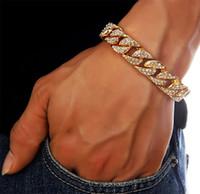 achat en gros de or jeu de pierre-Ensembles de bijoux en pierre simulée Hommes Femmes Bling Hip Hop Chaînes Golden Rhinestone Miami Cuban Colliers Bracelets Sets