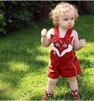 Wholesale 2017 INS baby girl kids infant toddler embroidered fox cotton rompers onesies open files Jumpsuits suspender pp pants shorts