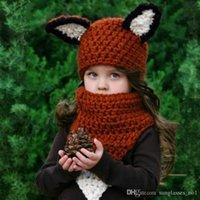 Unisex Spring / Autumn Crochet Hats Lovely Fox Ear Winter Windproof Hats And Scarf Set For Kids Crochet Headgear Soft Warm Hat Baby Winter Beanies PPA545