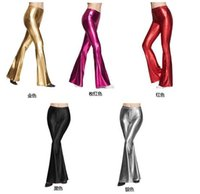 Wholesale New Women s Flares Pants Spring Summer Hot sell Fashion Sequins Boot Cut Trousers Long Loose Pant Sexy Nightclub wear Gold Red S XL